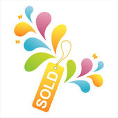 Colorful sold tag — Stock Vector