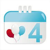 4ème de l'icône de calendrier de juillet — Vecteur