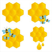 Glossy honeycombs with bees — Stock Vector