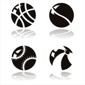 Black sport balls icons — Stock Vector