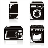 Black housework electronics icons — Stock Vector