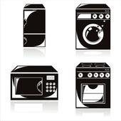 Black housework electronics icons — Stock Vector