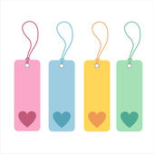 Colorful hearts tags — Stock Vector