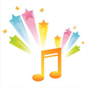 Musical note with star splash — Stock Vector