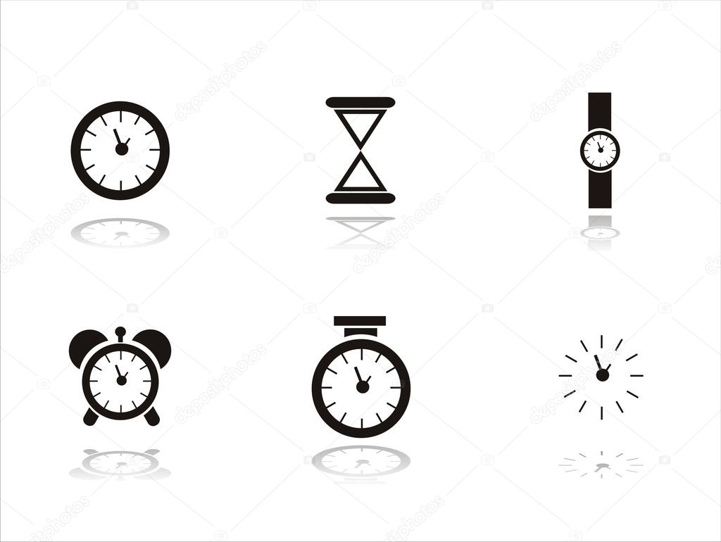 Set of 6 black clock icons — Stock Vector #5980195