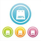 Sinais de compras coloridos — Vetor de Stock