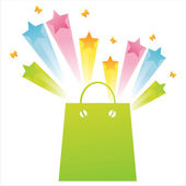 Shopping bag with star splash — Stock Vector