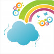 Stock Vector: Cloud background with rainbow