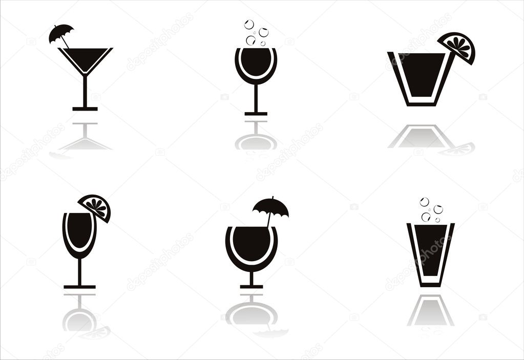 Set of 6 black cocktails icons  — Stock Vector #6077238