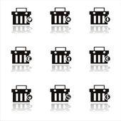 Black shopping baskets icons — Stock Vector