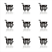 Black shopping baskets icons — Stock Vector