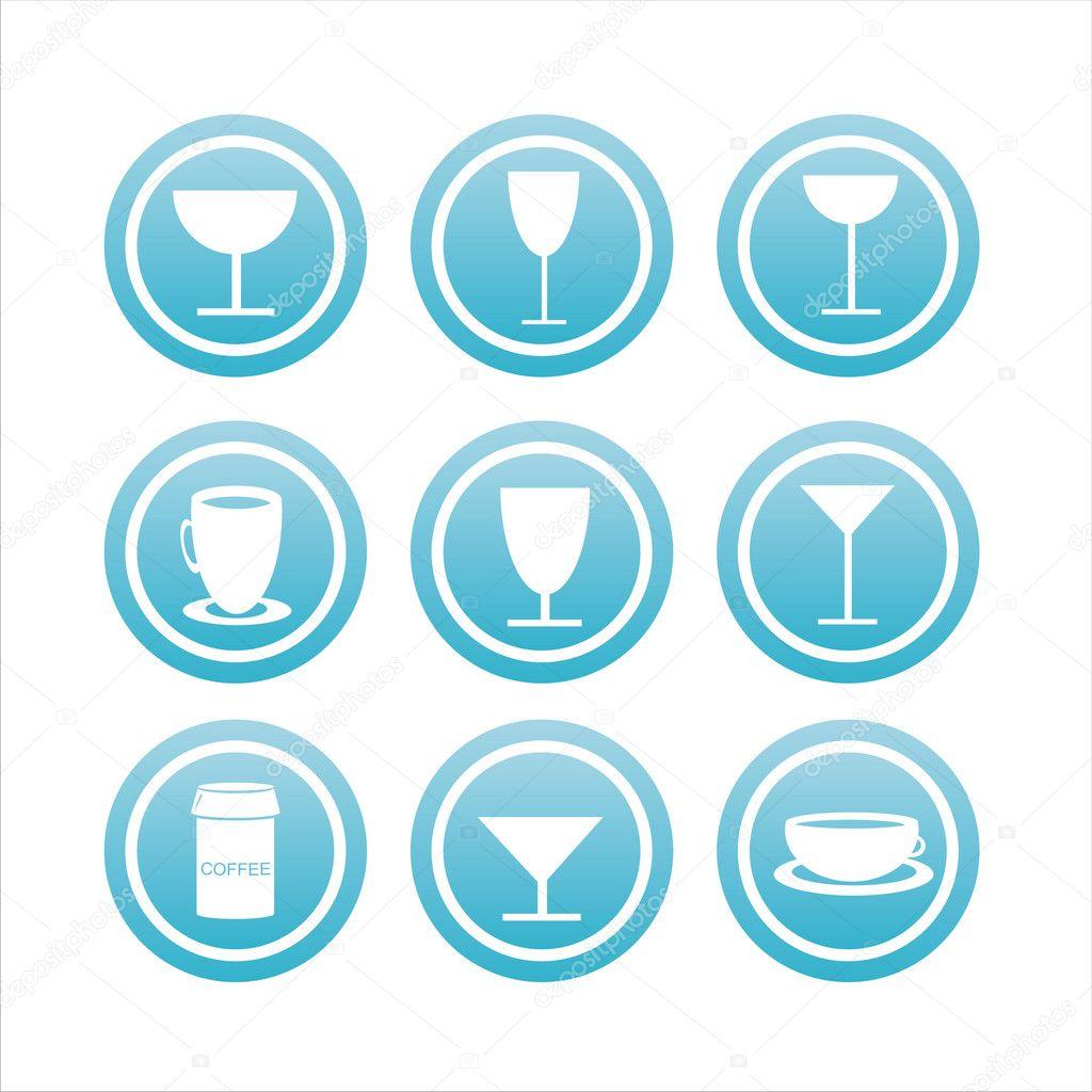 9 蓝色饮料迹象一套 — 矢量图片作者 isabelle