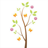 Tree with flowers and butterflies — Stock Vector