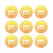 Orange einkaufs-körbe-zeichen — Stockvektor