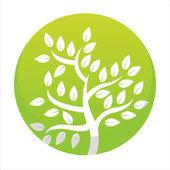 Green tree button — Stock Vector