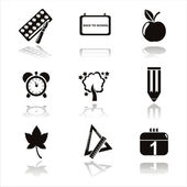 Black school icons — Stock Vector
