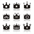 Black crown icons — Stock Vector #6202909