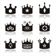 Black crown icons - Stock Vector