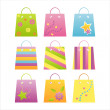 Colorful shopping bag icons — Stock vektor