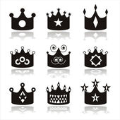 Black crown icons — Stock Vector