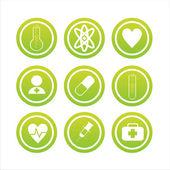 Yeşil sağlık işaretleri — Stok Vektör