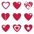 Hearts icons — Vettoriali Stock