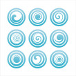 Stock Vector: Blue swirl signs