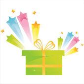 Present with star splash — Stock Vector