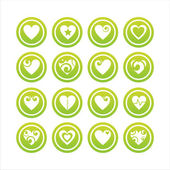 Green hearts signs — Stock Vector