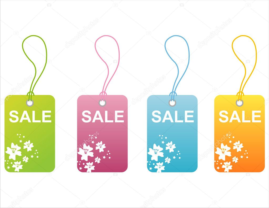 Set of 4 floral sale tags — Stock Vector #6210470
