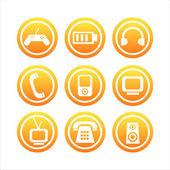 Orange technology signs — Stock Vector