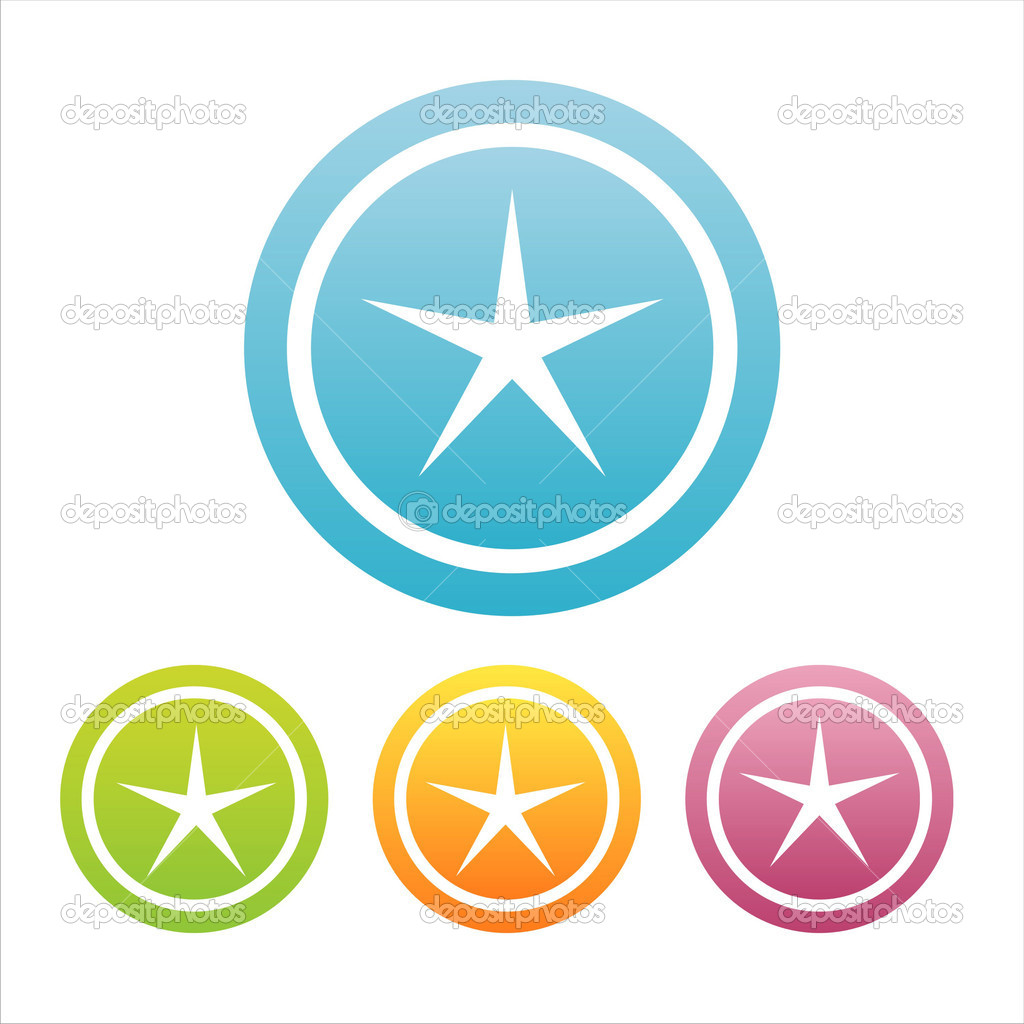 Set of 4 colorful stars signs  Stock Vector #6252584