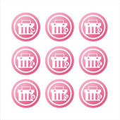 Pink shopping baskets signs — Stock Vector