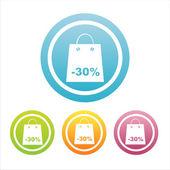 Bunte shopping zeichen — Stockvektor