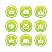Green crown signs — Stock Vector