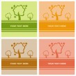 Cute autumn trees cards — Stock Vector