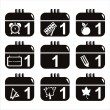 Royalty-Free Stock Vector Image: Black school calendar icons
