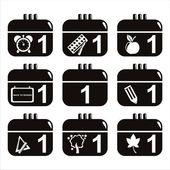 Iconos de calendario escolar negro — Vector de stock