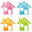 Stock Vector: Colorful houses icons