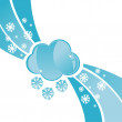 Cloud with snowflakes background - Stock Vector
