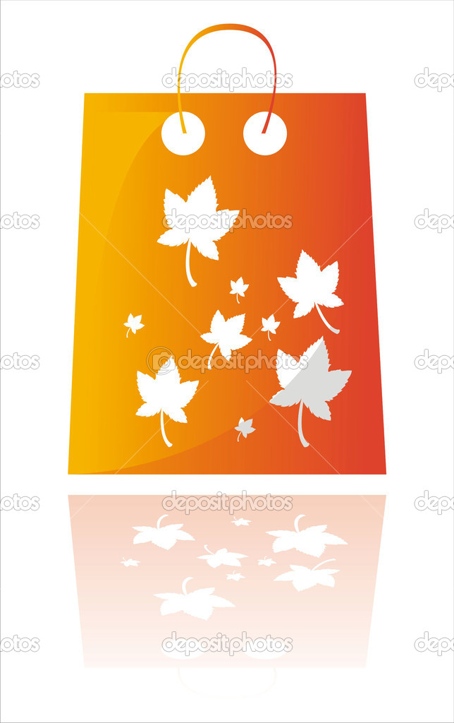 Glossy red autumn shopping bag isolated on white  Stock Vector #6631553