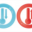 Glossy thermometers signs — Stock Vector