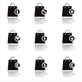 Black shopping bags icons — Stock Vector