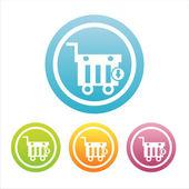Signos de canasta comercial colorido — Vector de stock