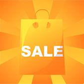 Pomarańczowy sprzedaż torba tło — Wektor stockowy