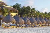 Sun loungers and parasols on a tropical beach — Stock Photo