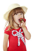 Girl with strawberry — Stock Photo