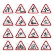 Set of three-dimensional Warning Hazard Signs - Stock Vector