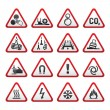Set Simple of Triangular Warning Hazard Signs — Stockvectorbeeld