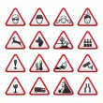 Set Simple of Triangular Warning Hazard Signs — Stock Vector #5419220